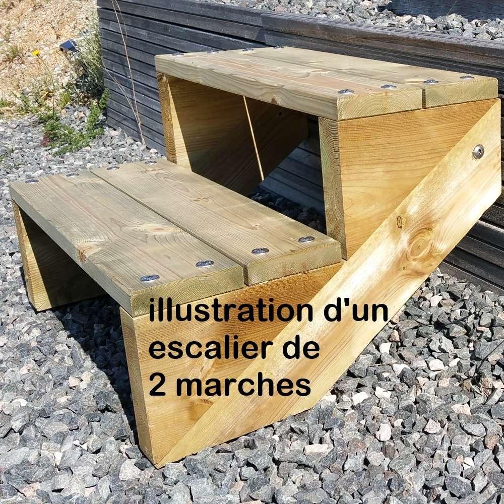 Pack Escalier 2 Marches En Largeur 120cm En Bois Autoclave Pour Le