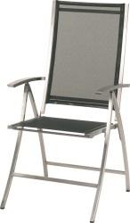 Chaise de jardin pliante PLAZA en inox brossé couleur noir