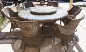 Plateau tournant 90cm pour table de jardin en résine tressée Pure