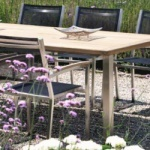 table de jardin design ou traditionelles - table teck inox roof top