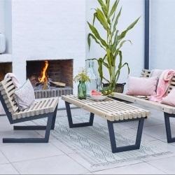 Bancs de jardin et fauteuils extérieur avec table bas